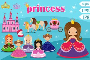 Vector royal set with princesses