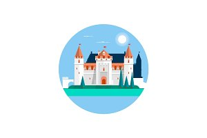 Fairytale castle ,isolated on white. Fairy white castle. Vector illustration