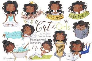 Planner Girls Dark Skin Tone Clipart