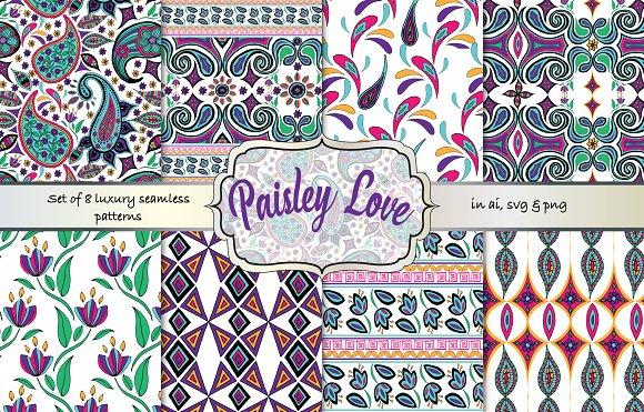 Paisley Love Seamless Pattern Set