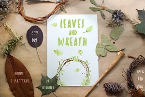 Watercolor Leaves and Wreath
