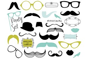 Mustache, Spectacles, Lips Clip Art