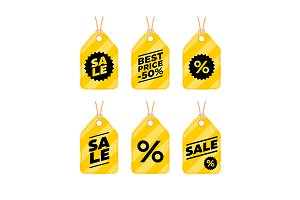 Sale label tab discount icon set