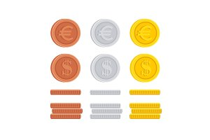 Dollar and Euro coin cent sign icon collection