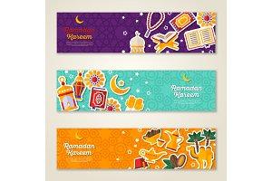 Ramadan Kareem concept horizontal banners