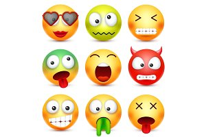 Smiley set. Green,red,happy,sad,ill,tired emoticon. Yellow face with emotions. Facial expression. 3d realistic emoji. Funny cartoon character.Mood. Web icon. Vector illustration.