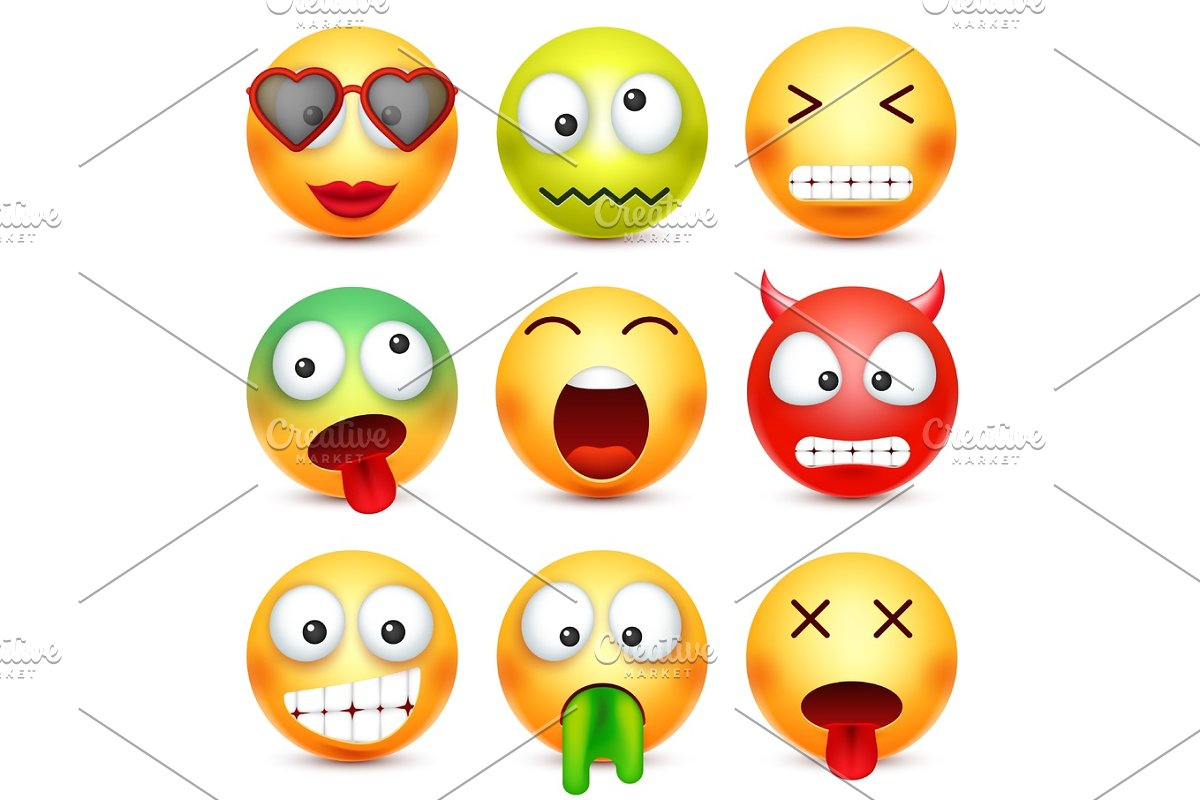 Smiley set  Green,red,happy,sad,ill,tired emoticon  Yellow face with  emotions  Facial expression  3d realistic emoji  Funny cartoon  character Mood