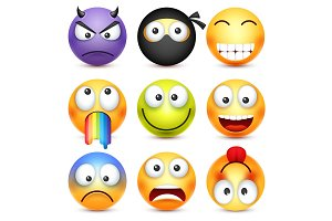 Smiley set. Devil, happy,scared,sad emoticon. Yellow face with emotions. Facial expression. 3d realistic emoji. Funny cartoon character.Mood. Web icon. Vector illustration.