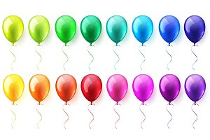 Isolated Realistic Colorful Glossy Flying Air Balloons set. Birthday party. Ribbon.Celebration. Wedding or Anniversary.Vector Illustration.