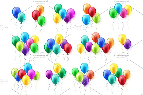 Isolated Realistic Colorful Glossy Flying Air Balloons Set Birthday Party Ribbon.Celebration Wedding Or Anniversary.Vector Illustration