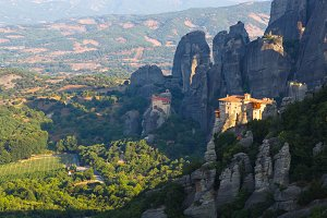 monastery in Meteora landscape, Kalambaka, Greece