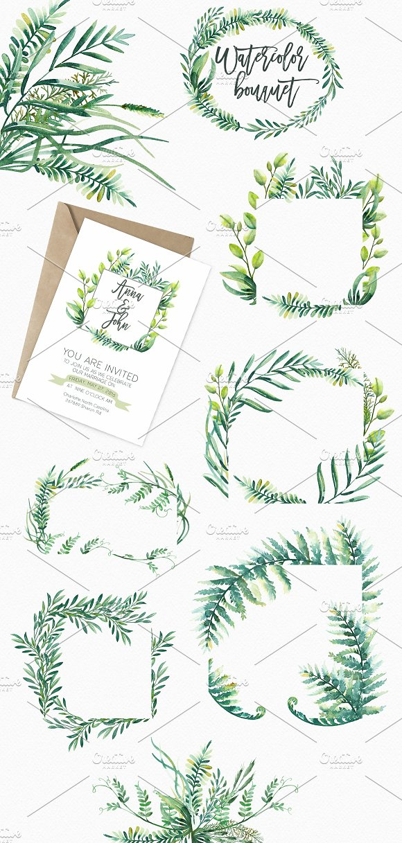 Watercolor Greenery Illustrations Creative Market