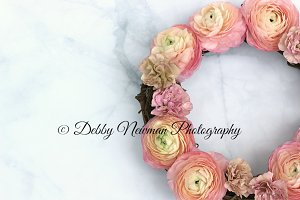 Coral Ranunculus Wreath Mock Up