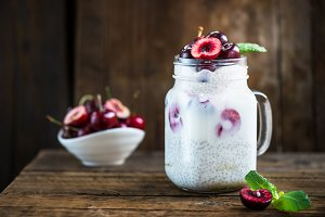 Healthy Dessert Pudding from Chia Seeds and Nut Milk with Cherri