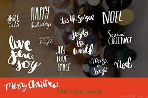 hand lettered holiday words