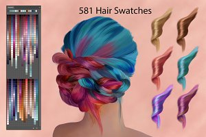 Hair Swatches for Digital Painting