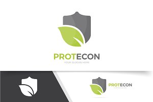 Logo combination of shield and leaf