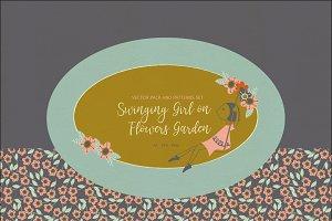 Swinging Girl on Flowers Garden