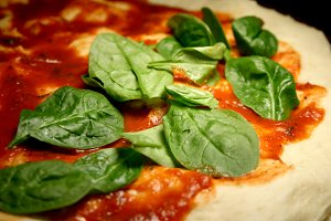 Spinach and Sauce Pizza