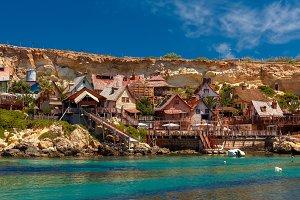 Famous Popeye Village at Anchor Bay, Malta