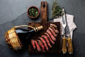 Sliced medium rare roast beef