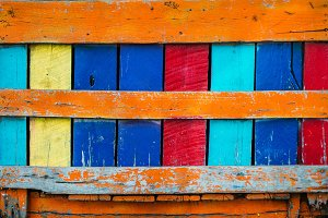 Colorful vintage rusty board