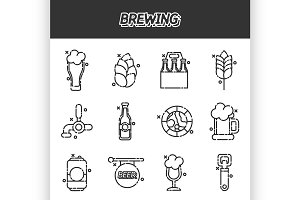 Brewing cartoon icons set