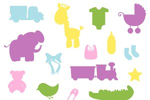 Baby Silhouette Vectors and Clipart