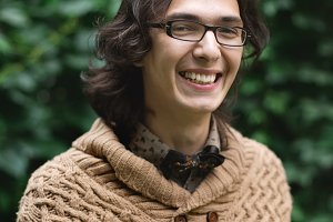 Young multiracial man smiling