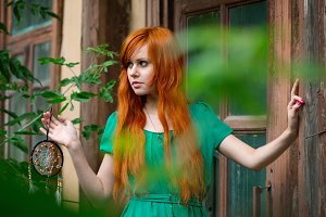 Young beautiful red hair woman