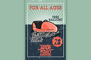 Color vintage Amusement park banner.
