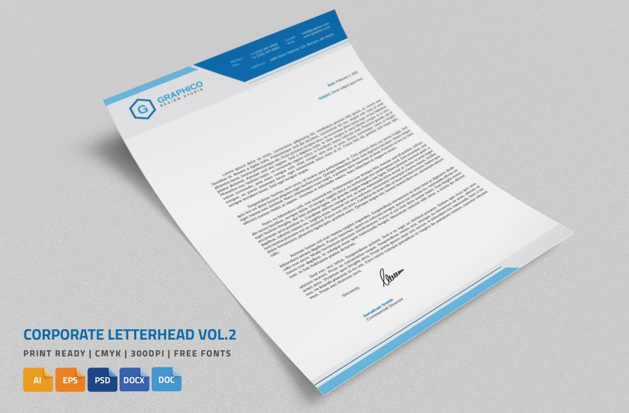 Corporate letterhead 2 with ms word stationery templates corporate letterhead 2 with ms word stationery templates creative market accmission Gallery