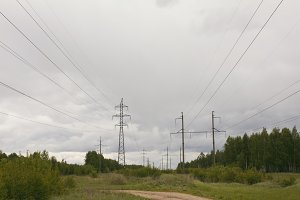 Electricity pylons and lines in rural
