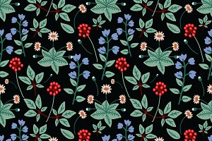 Seamless forest flowers