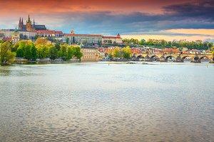 Charles bridge with castle, Prague