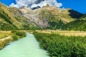Alpine landscape with Furka Pass