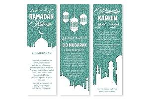 Ramadan lantern, muslim mosque greeting banner set