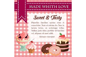 Bakery vector desserts and pastry cakes poster