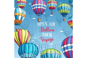 Vector poster for hot air balloon tour voyage