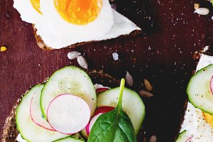 Healthy open sandwiches on wood