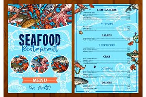 Vector menu for seafood fish restaurant