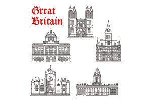 Great Britain architecture landmarks vector icons