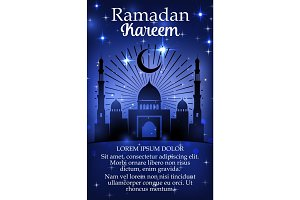Ramadan Kareem holiday poster with mosque
