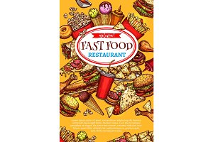 Vector fast food restaurant poster