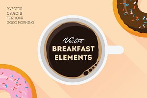 9 Vector Breakfast Elements