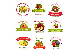 Vector exotic fruits icons for market or shop