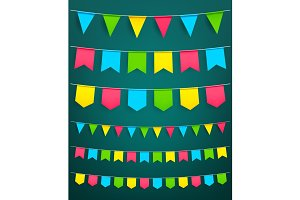 Vector flag garland for festival celebration decor