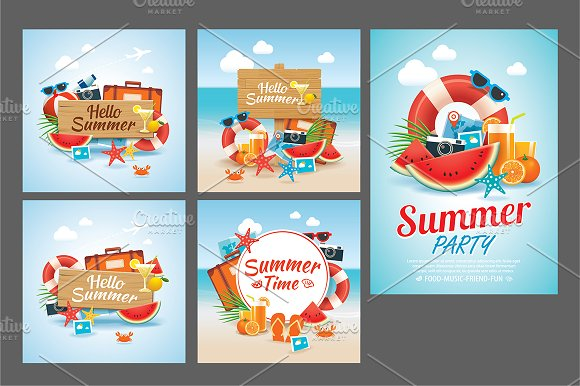 Set Of Summer Time Poster