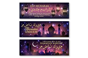 Ramadan Kareem banner set with lantern and mosque
