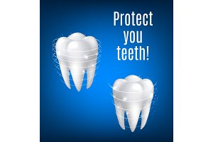 Vector 3D white teeth protection for dentistry
